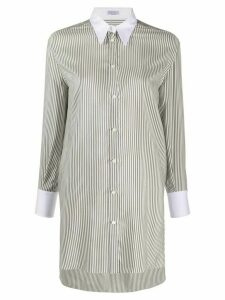 Brunello Cucinelli longline striped shirt - Grey