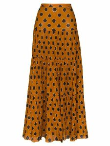 Johanna Ortiz tiered graphic-print maxi skirt - Brown