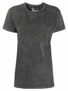 8pm rhinestone-star distressed T-shirt - Grey