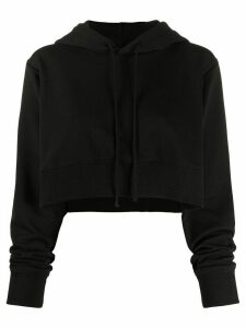 Mm6 Maison Margiela cropped cotton-blend hoodie - Black