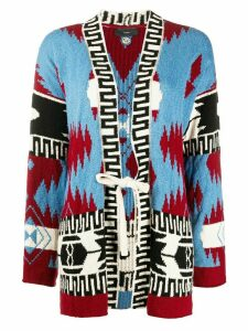 Alanui embroidered waist-tied cardigan - Blue
