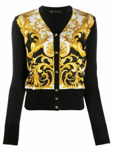 Versace baroque-print silk and cotton-blend cardigan - Black