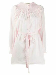 Maison Flaneur tied-waist lose-fit shirt - PINK