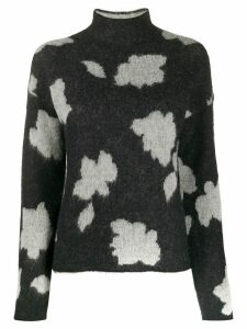 Theory floral patterned textured jumper - Black