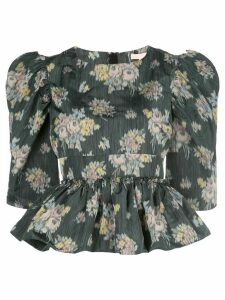 Brock Collection peplum floral print blouse - Green
