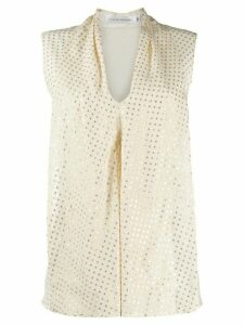 Victoria Beckham metallic threading flared top - White