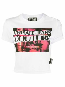 Versace Jeans Couture graphic print cropped T-shirt - White