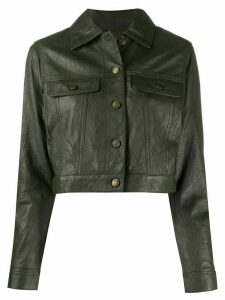 Michael Michael Kors cropped leather jacket - Green