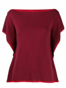 Maison Flaneur square neck contrast trim knitted top - Red