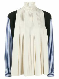 Prada striped sleeves pleated blouse - NEUTRALS