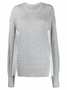 Maison Flaneur patterned knit mesh detail jumper - Grey