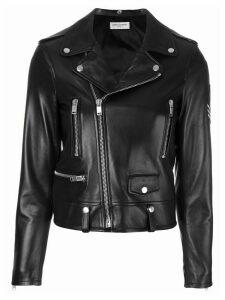 Saint Laurent military patch motorcycle jacket - Black