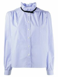 Miu Miu ruffled neck striped shirt - Blue