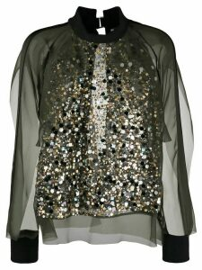 Sacai sequinned chiffon top - Green
