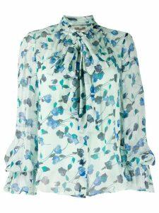 DVF Diane von Furstenberg floral bow tie shirt - Blue