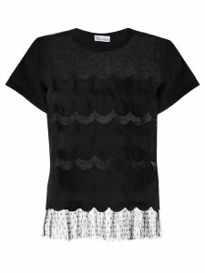 RedValentino point d'esprit scalloped T-shirt - Black