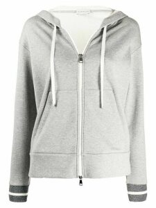 Moncler glitter embellishments zipped hoodie - Grey