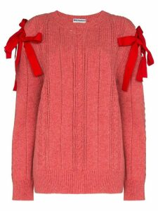 Molly Goddard bow shoulders knitted jumper - PINK