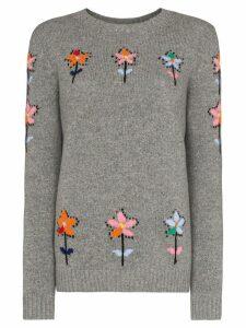 Prada floral wool-intarsia jumper - Grey