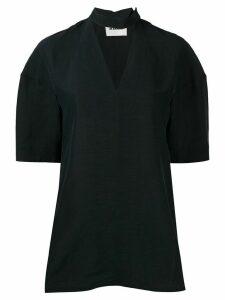 Jil Sander cut-out V neck top - Blue