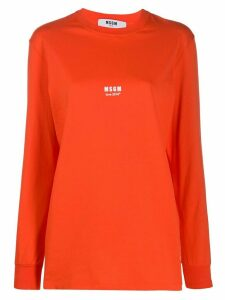 MSGM love! print sweatshirt - ORANGE
