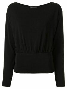 Emporio Armani knitted elasticated hem top - Black