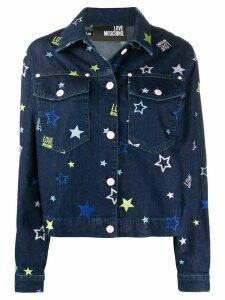 Love Moschino denim star embroidered jacket - Blue