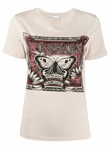RedValentino butterfly printed T-shirt - NEUTRALS
