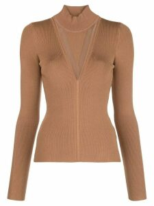Cushnie sheer panel turtleneck jumper - Brown