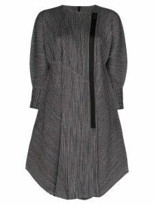 Pleats Please Issey Miyake pinstripe pleated coat - Black