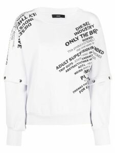 Diesel printed detachable-sleeve sweatshirt - White