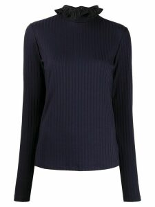 Victoria Victoria Beckham ribbed ruffle neck - Blue