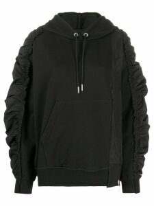 Diesel gathered-sleeves spliced hoodie - Black
