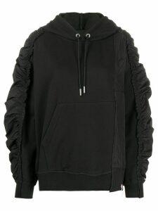 Diesel gathered-sleeves spliced hoodie - Black