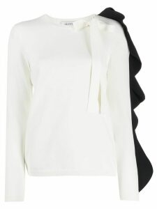 Valentino frilled sleeve knitted top - White