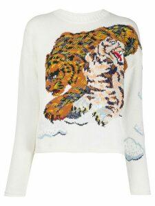 Kenzo tiger-intarsia sweater - White