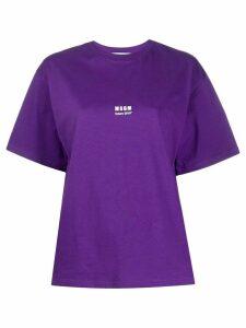 MSGM logo-print boxy T-shirt - PURPLE