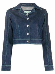 Kenzo notched-lapel cropped denim jacket - Blue