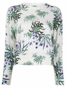 Kenzo floral-print eyelet-knit top - White