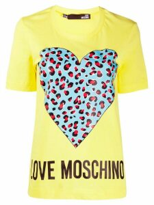 Love Moschino heart print T-shirt - Yellow