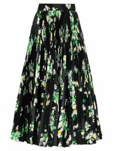 Richard Quinn high-waisted floral print midi skirt - Black