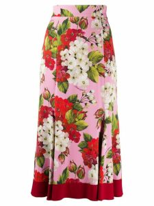 Dolce & Gabbana geranium print midi skirt - PINK