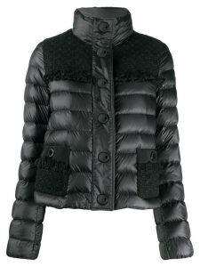 Moncler tweed panel puffer jacket - Black