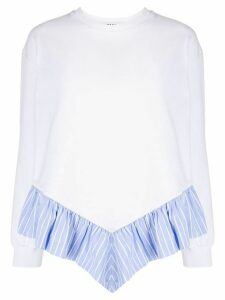 MSGM ruffle trim sweatshirt - White