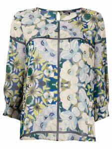Luisa Cerano floral print boat neck blouse - Green