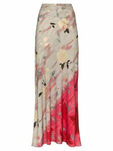 Collina Strada Yod floral print maxi skirt - Grey