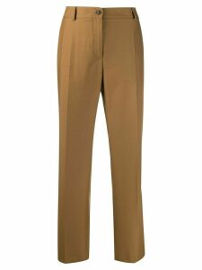 Agnona wool flannel straight-leg trousers - Brown