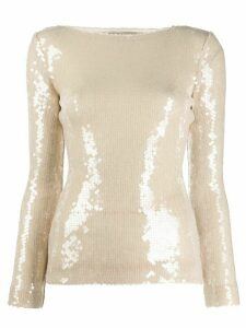 Roland Mouret Mosta sequinned top - NEUTRALS