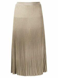 Prada glitter knitted pleated skirt - NEUTRALS