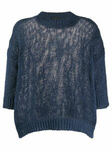 Roberto Collina chunky-knit crew neck top - Blue